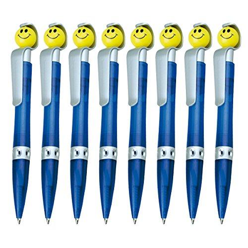 WPRO Kugelschreiber Sunny 8 Stück | Mitgebsel Gastgeschenk für Kindergeburtstage |Jungen & Mädchen| Kugelschreibmine Blau- mit Smiley Kinder-Kugelschreiber Wpro - Kulli Mitgebsel |, Blau