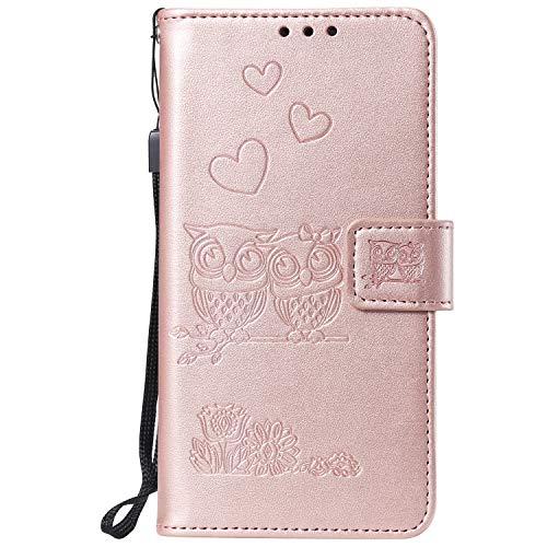 Miagon für Xiaomi Redmi Note 6 Pro Hülle,Geprägt Eule Blumen Herz Muster Pu Leder Ständer Flip Schutzhülle Tasche Brieftasche Etui mit Magnetverschluss Kartenhalter