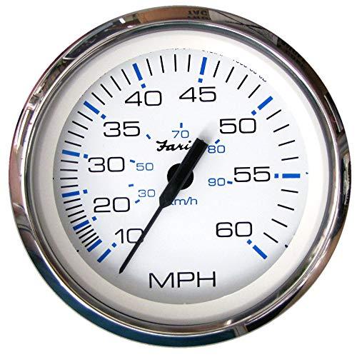Faria 33811 Chesapeake Stainless Steel Speedometer (60 MPH) Pitot - 4', White
