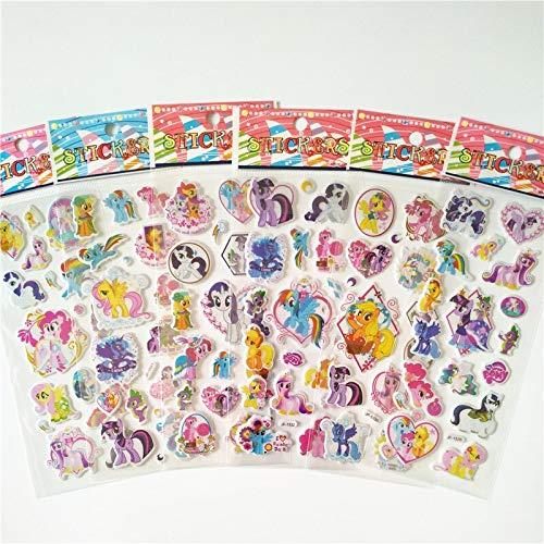 PMSMT 6 unids Dibujos Animados Anime Ponis Princesa Juguete niños mi pequeño Unicornio Pegatinas para Equipaje patineta portátil Pegatina de Burbuja