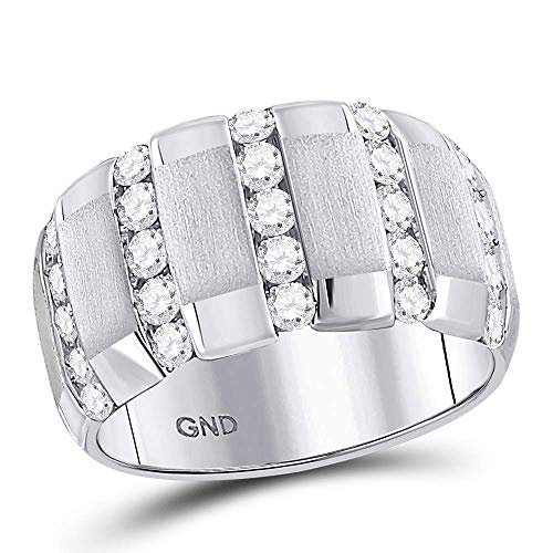 Alianza de boda de oro blanco de 14 quilates con diamantes redondos mate a rayas 1-1/2 quilates para hombre