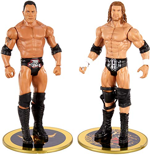 WWE The Rock vs Triple H Championship Showdown 2 Pack 6 in Action Figures Friday Night Smackdown Battle Pack for Ages 6 Years Old and Up