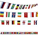 G2PLUS 50M Flaggenkette Fahnenkette Wimpelkette mit 200 Zuf?llige L?nder Fahnen Flaggen Perfekte Dekorationen f¨¹r Bar, Party, Festival, Sportvereine