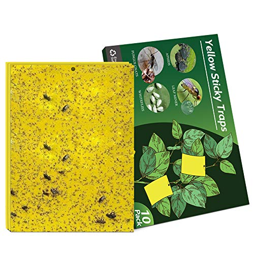Negarly 10-Pack Dual-Sided Yellow Sticky Traps for Flying Plant Insect Like Fungus Gnats, Whiteflies, Aphids, Leaf Miners, Thrips, Other Flying Plant Insects - 6x8 Inches, Twist Ties Included