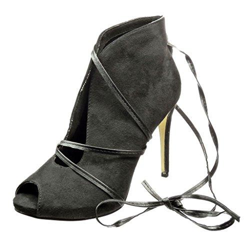 Angkorly - Damen Schuhe Stiefeletten - Sexy - Offen - String Tanga Stiletto high Heel 10 cm -...