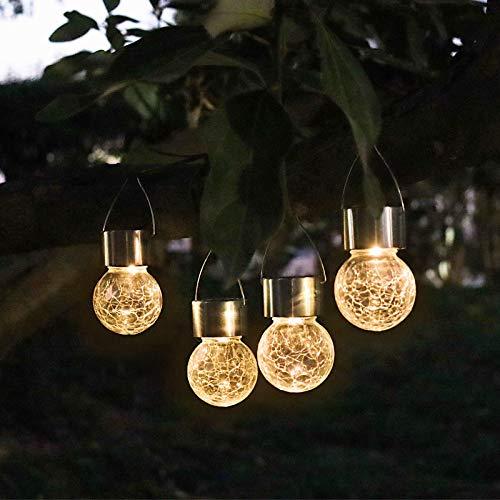 Solar-Craquelé-Glaskugeln, hängende Kugel-Lichter, 4 Stück, dekorative Gartenleuchten, wasserdichte Solarlaternen für Hof, Terrasse, Zaun, Baum oder Urlaubsdekoration (warmweiß)