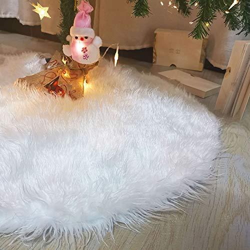 New-Pelz-Weihnachtsbaum Weicher Rock, 78/90/122 / 150CM Snow White Plüsch Fluffy Weihnachtsbaum Rock, Für Basisabdeckung New Year Party Versorgungs Dekorationen,Weiß,150CM