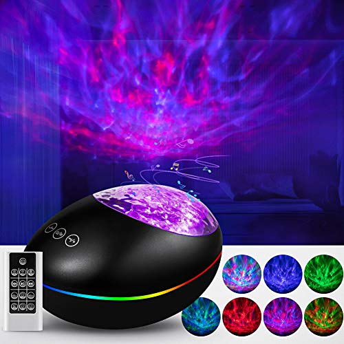 Star Projector, Galaxy Projector Ocean Wave Ceiling Night Light - 7 Color Changing Music Player Skylight Projector for Kids Adults Bedroom Living Room Party Decoration