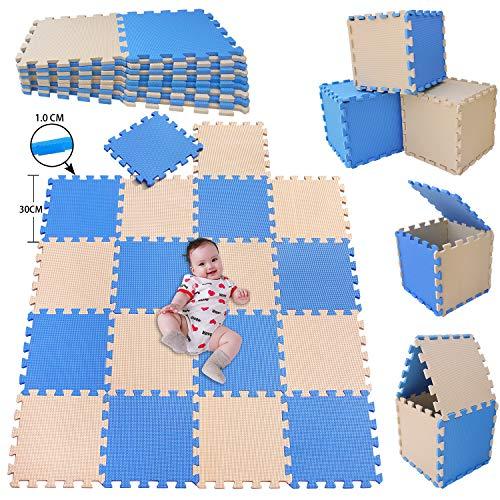 MSHEN–18PCS Foam Play Mat Tiles Interlocking Floor Mats for Children Multicoloured Foam Floor Tiles  children jigsaw tiles playmat .Size 1.62 Sqm Baby play mat. blue-beige-GJg18