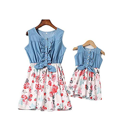 Mutter und Tochter Kleider Set.Mommy and Me Denim Sleeveless Mini Dress Floral Print Pleated Skirt Summer Outfits (Weiß, S)