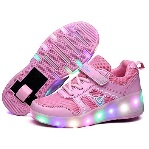 WEIJINGRIHUA Mode LED Rolle Schuhe,Atmungs Kinder Einrad Schuh,Einziehbare Einrad Schuhe,Draussen Turnschuhe,Rosa (Color : Pink, Size : EU39)