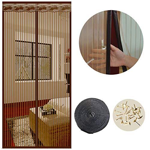 Cortina Mosquitera Magnética para Puertas, 90 x 210cm, Anti Insectos Moscas y Mosquitos, con Imanes Cierre Automático y Velcro Adhesiva , para Puertas Correderas/Balcones/Terraza(marrón )