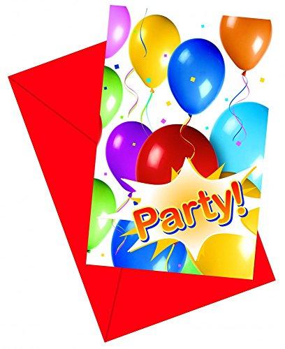 GAME WORLD 12x Balloons Party Einladungskarten mit Umschlag [Edizione: Germania]