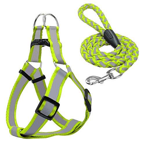 Kalmerende Bed Plush Step-in Reflecterende Nylon Harnas Vest No Pull Verstelbare Pet Puppy Walking Training Harness Leash Set Dog Tag (Color : Green, Size : M)