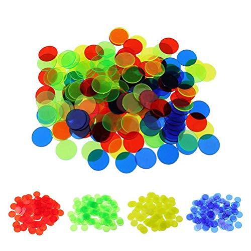 TOYANDONA 200 Stücke Spielchips Plastechips Transparente Zähler Kunststoff Bingo Chips für Bingospiel Zählen und Spielmarken