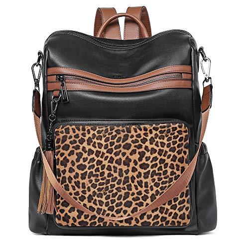 CLUCI Mochila monedero para mujer de piel de diseñador de viaje grande para mujer con borla negro con leopardo
