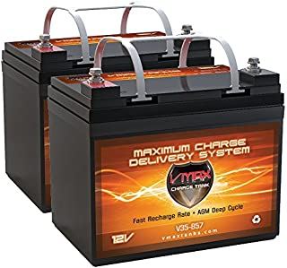 QTY2 VMAX857 AGM Deep Cycle Group U1 Battery Replacement for Hoveround MPV5 12V 35Ah Wheelchair Battery