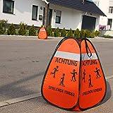 Blaustein Warnwürfel 1x - Achtung Spielende Kinder Straßenwarnschild Kinder Sicherheit