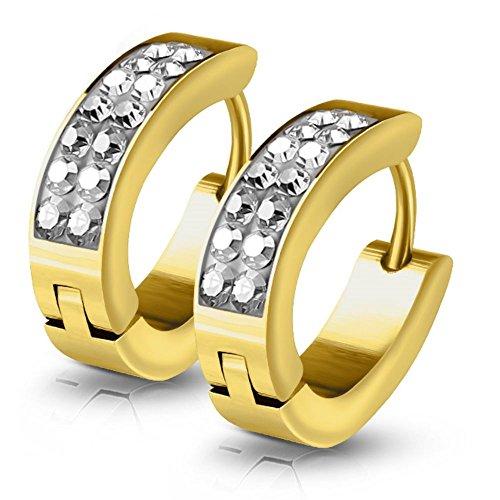 Kristall-Creolen von Bungsa® | Hochwertige Gold-Ohrringe Damen | Edelstahl-Creolen für den perfekten Auftritt | Creolen-Gold