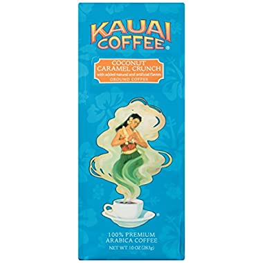 100% Kauai Ground Coffee, Coconut Caramel Crunch–100% Premium Arabica Coffee from Hawaii's Largest Coffee Grower-Tropical Coconut and Sweet Nutty Caramel Flavors with Medium-Roasted Beans (10 Ounces)