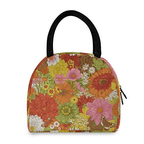WYZQ Bolsa de Almuerzo Flor floreciente Patrón Floral Mujer Hombre Caja de Almuerzo para Picnic Escolar Viaje Trabajo para Adolescentes Almacenamiento de Alimentos