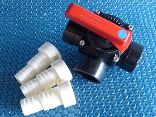 PVC 3-Wege-Zylinderhahn, Ventil, 50/63 mm, Kugelhahn, inkl. 3 Klebetüllen