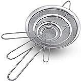 Juego de 4 coladores de cocina de 8/12/16/22 cm, de acero inoxidable, malla fina, colador de harina, juego de coladores con mango reforzado para hornear y cocinar, harina, quinoa, té, zumo