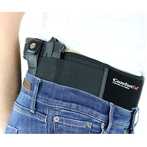 "ComfortTac Ultimate Belly Band Holster 2.0 - New 2017 - Fits Glock 19 43 26 Smith and Wesson MP Shield Bodyguard Ruger LC9 Sig Sauer More - Carry IWB OWB Appendix (XL (Belly: Up to 53""), Right)"