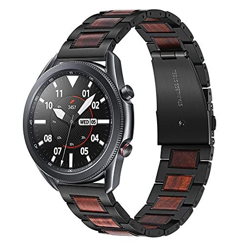 TRUMiRR Compatible con Samsung Galaxy Watch 3 45mm/Galaxy Watch 46mm/Gear S3 Correa, 22mm Acero Inoxidable & Banda de Reloj de Nogal Natural Banda de liberación rápida para Garmin Vivoactive 4 45mm