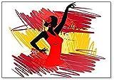 Imán para nevera con diseño de bailarina flamenca sobre la bandera de España