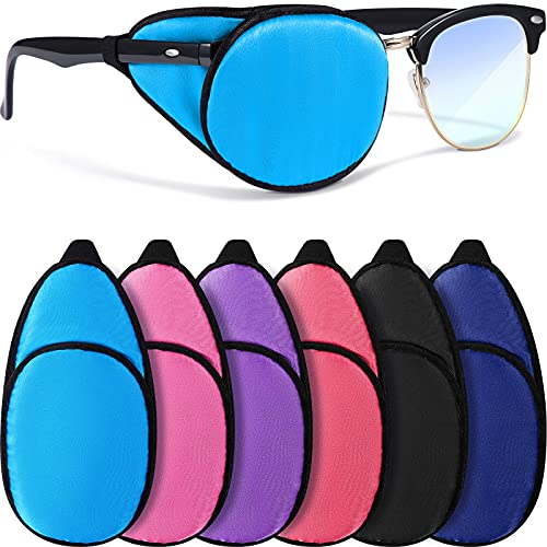 6 Pieces Silk Eye Patch for Adults Kids Glasses to Cover Either Eye Soft Eye Glass Cover Single Eye Patches, 6 Colors