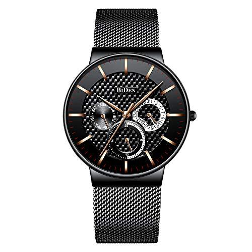 Relojes para Hombres Negro Reloj de Fecha Impermeable de Malla de Acero Inoxidable para Hombre Relojes de Pulsera de Cuarzo Analógico Casual Dress para Hombres