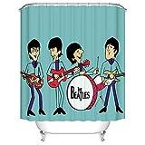 N/ Baño Cortina de Ducha Decoración Rock Band The Beatles Design Cortinas de baño 12 Gancho 183 * 183CM