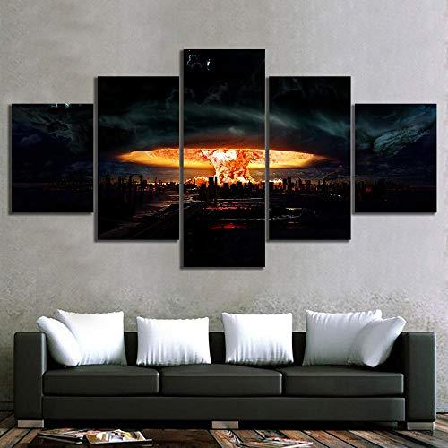 NJKSAXCDw Pintura de la Lona Decoración del hogar Arte de la Pared 5 Paneles Atom Bomb Impresiones del Paisaje Urbano Cartel Moderno Modular para la habitación de los niños Frame100x50cm Enmar