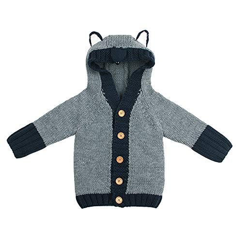 Ansenesna Ansenesna Kinder Baby Kleidung Mädchen Jungen Winter Langarm Elegant Pullover Cartoon Strick Jacke Mit Kapuze (90, Grau)