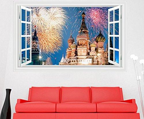Skyllc® Belle amovible Feux d'artifice du monde Castle Kid Wall Decal Sticker Décor 3D de Windows