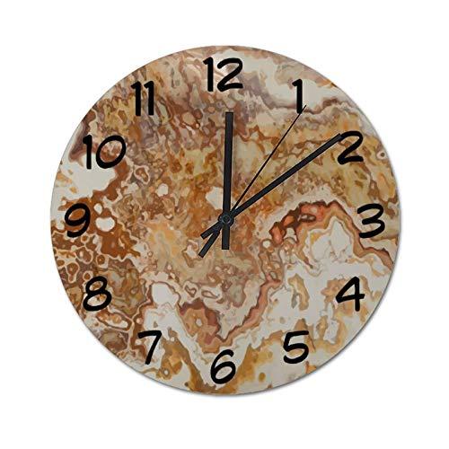 Pealrich 25 x 25 cm, silencioso, no hace tictac, piedra de ónix artificial, decoración exterior, reloj redondo, para casa, oficina, aula, escuela, fácil de leer