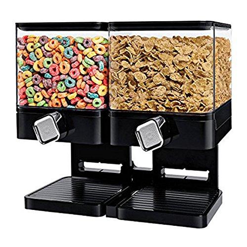 SHINE, Doppio Dispenser per Cereali, Cibo Secco, Nero