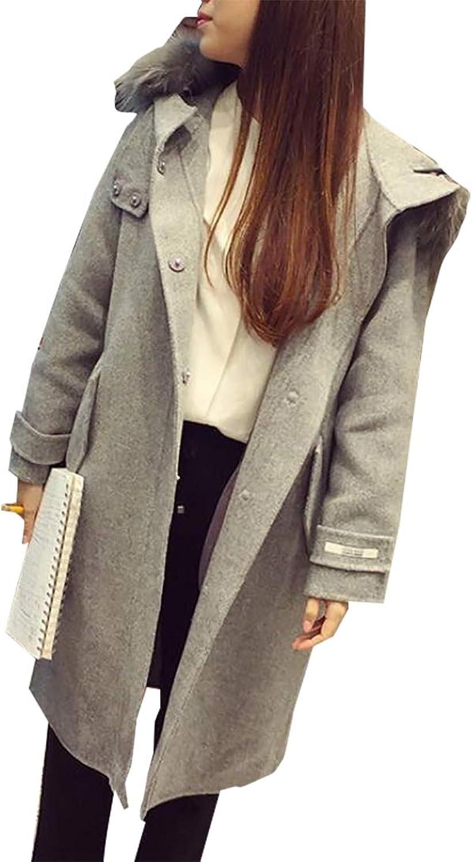 Gocgt Womens Pea Coat Overcoat Plius Size Faux Fur Hoodie Pea Coat Overcoat