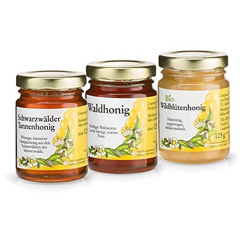 Sanct Bernhard Honig Probierset mit Waldhonig, Bio-Wildblütenhonig, Schwarzwälder Tannenhonig, naturbelassene Honigspezialitäten - 3 Gläser à 125 g