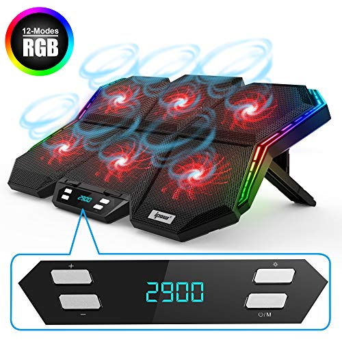 IPOW RGB Laptop Cooling Pad Gaming Laptop Cooler with 6 High-Speed Adjustable Fans, 7 Heights Stand, LED Screen, 2 USB Ports, Compatible up to 17'' Laptop & PS4