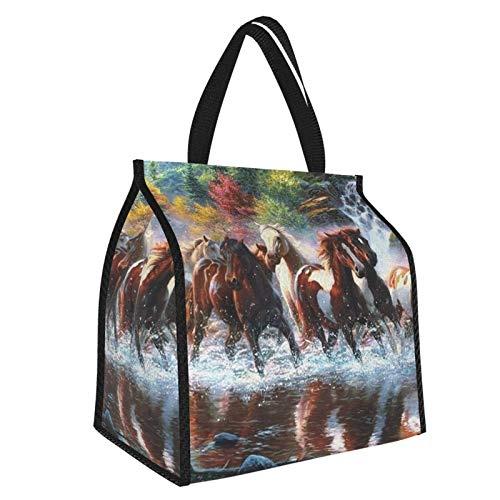 Bolsa de almuerzo de indios nativos americanos de caballos, bolsa de almuerzo, bolsa enfriadora de alimentos, organizador grande para el trabajo y viajes escolares para mujeres, hombres