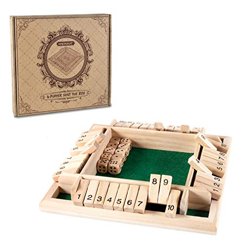 AMEROUS 14 Players Shut The Box Dice GameClassic 4 Sided Wooden Board Game with 10 Dice and ShutTheBox Instructions for Kids Adults Classics Tabletop Version and Pub Board Game