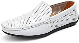 Men's Penny Loafers Breathable Hollow Genuine Leather Casual Shoes Driver Moccasin Flats Boat Shoes Slip ons