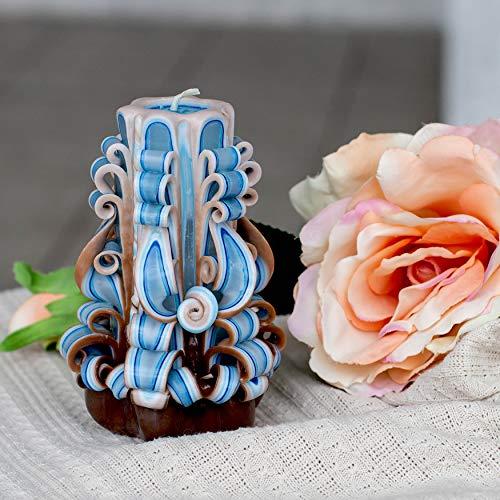 Vela de Navidad - recuerdo de vacaciones - vela azul marrón tallada - tamaño mediano