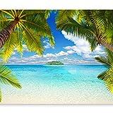 murando - Fototapete selbstklebend Tropische Insel 343x256 cm Tapete Wandtapete Wandbilder Klebefolie Dekofolie Tapetenfolie Wand Dekoration Wohnzimmer - Strand Meer Landschaft Palmen...