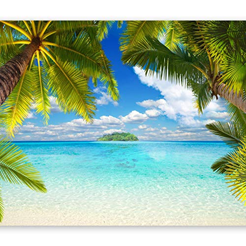 murando Fototapete Tropische Insel 400x280 cm Vlies Tapeten Wandtapete XXL Moderne Wanddeko Design Wand Dekoration Wohnzimmer Schlafzimmer Büro Flur Tropical Strand Meer Landschaft Palmen 10110903-21