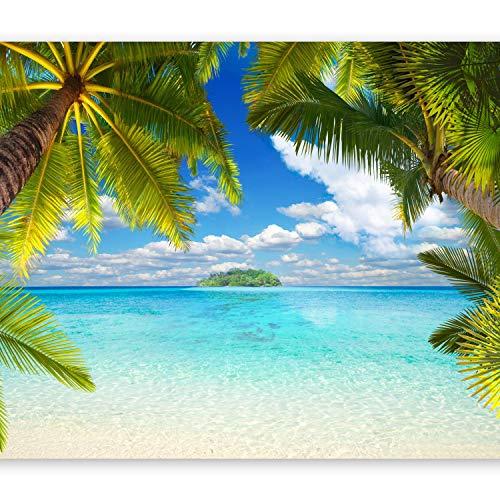 murando Fototapete Tropische Insel 350x256 cm Vlies Tapeten Wandtapete XXL Moderne Wanddeko Design Wand Dekoration Wohnzimmer Schlafzimmer Büro Flur Tropical Strand Meer Landschaft Palmen 10110903-21