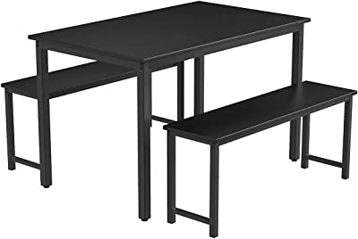 Kitchen Home Decor Kitchen Dining Table and 2 Benches Set Table and Chairs Set for Limited Space MDF Board Modern Niture for Home Cafeteria Apartment and Farm House Black