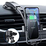 Nalwort Wireless Car Charger 15W Qi Fast Charge with Metal Frame Dashboard and Air Vent Phone holder Auto...